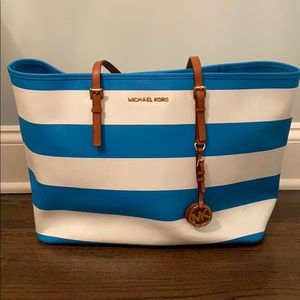 Michael Kors Blue and White Stripe Tote Bag